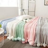 Lovely Lounge Cover Knitted Cotton Blanket White Pink Plush Throw Blanket Warm Pom Crochet Thread Blanket