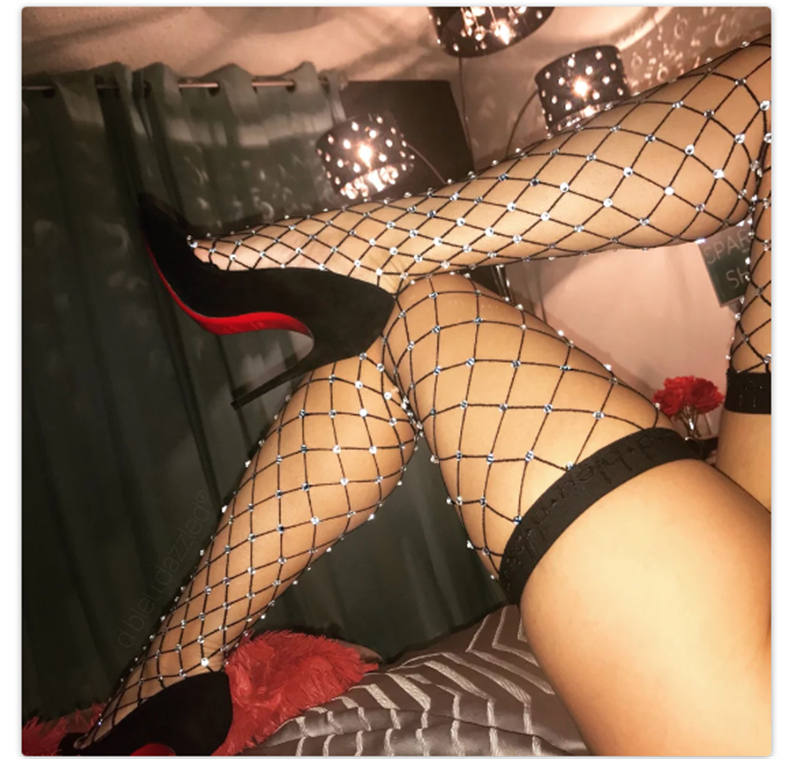 Red Hollow Out Sexy Pantyhose Black Women Tights Stocking Fishnet Stockings Club Party Hosiery Calcetines Female Mesh Srockings