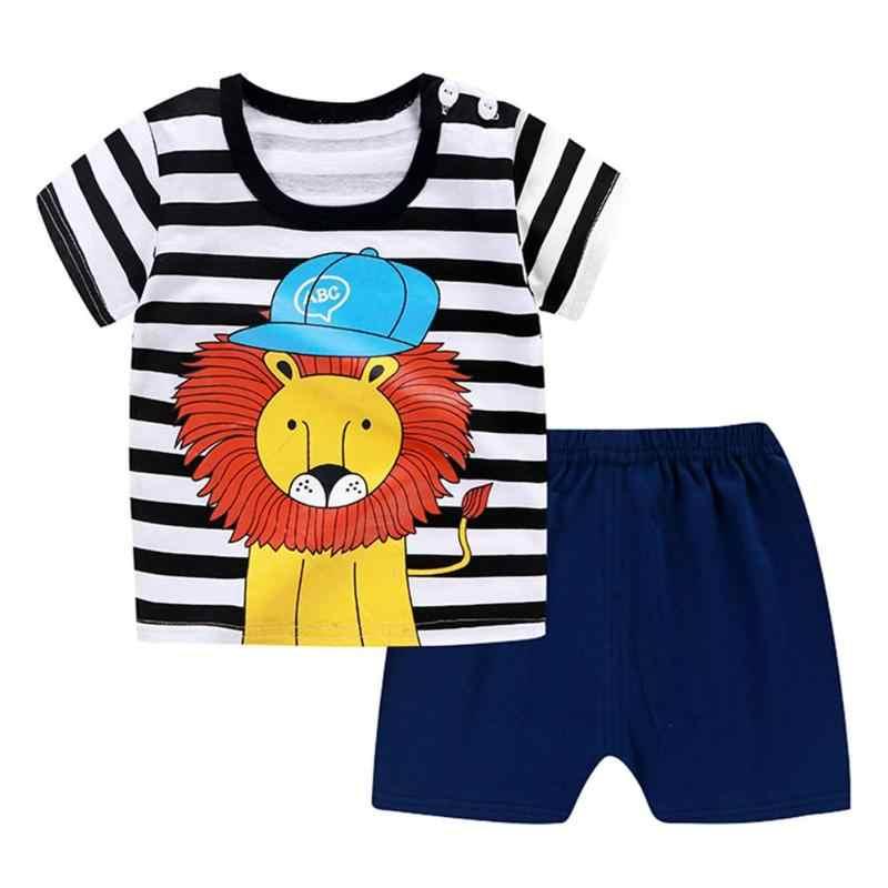 Kids Clothes Summer Cotton Linen Boys Sets 2pcs/set Cartoon Cotton Kids Boys Girls Summer Short Sleeve T-shirt Pants Gift