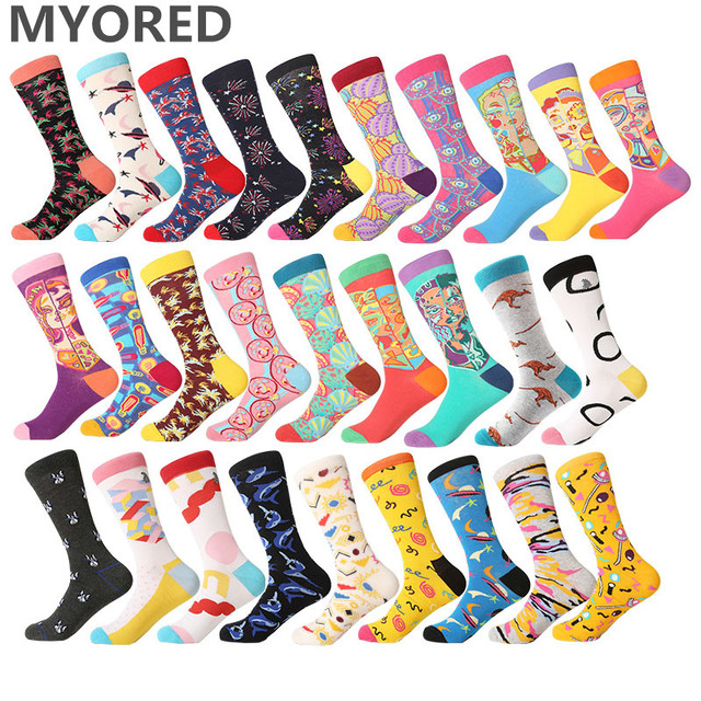 MYORED  men socks cotton cool crew socks mens womens unisex hip hop funny cartoon harajuku dress socks man Chaussette Homme