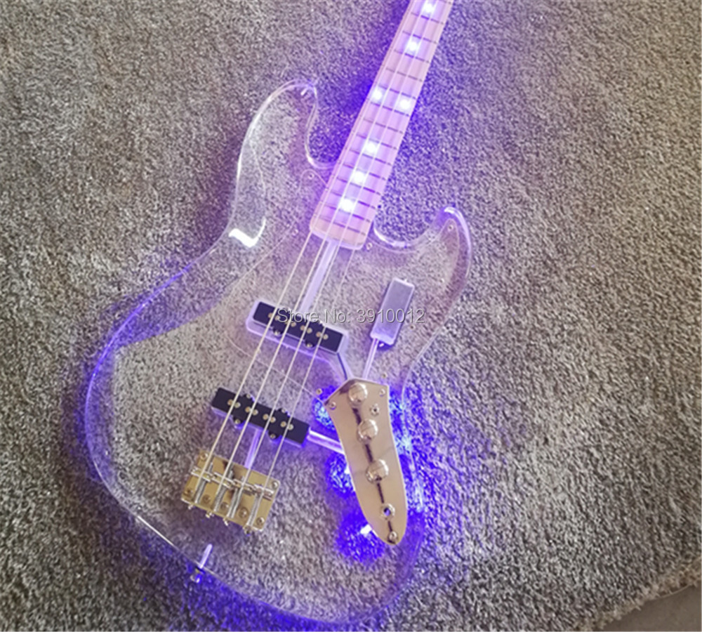 New store custom transparent acrylic body LED jazz bass 4 strings electric bass guitars acrylic