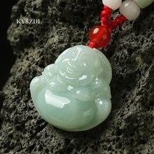 Natural Burma jade pendant 100% Hand Carved Jade Buddha Maitreya Pendant Necklace
