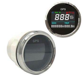 52 ミリメートルオートバイ内蔵センサー液晶 GPS スピードメーターデジタルマルチインジケータ 0 〜 999 MPH ノットキロ/h 防水
