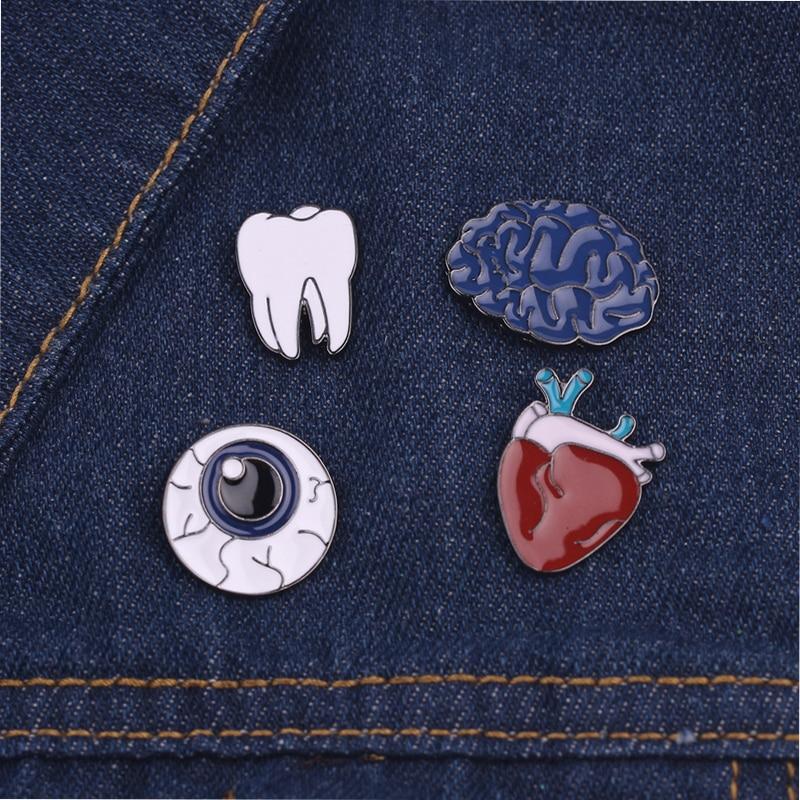 1 Pc Form Abzeichen Emaille Herz Zähne Auge Broschen Für Frauen Menschlichen Körper Piercing Brosche Revers Pin Mode Übertreibung Mode Schmuck