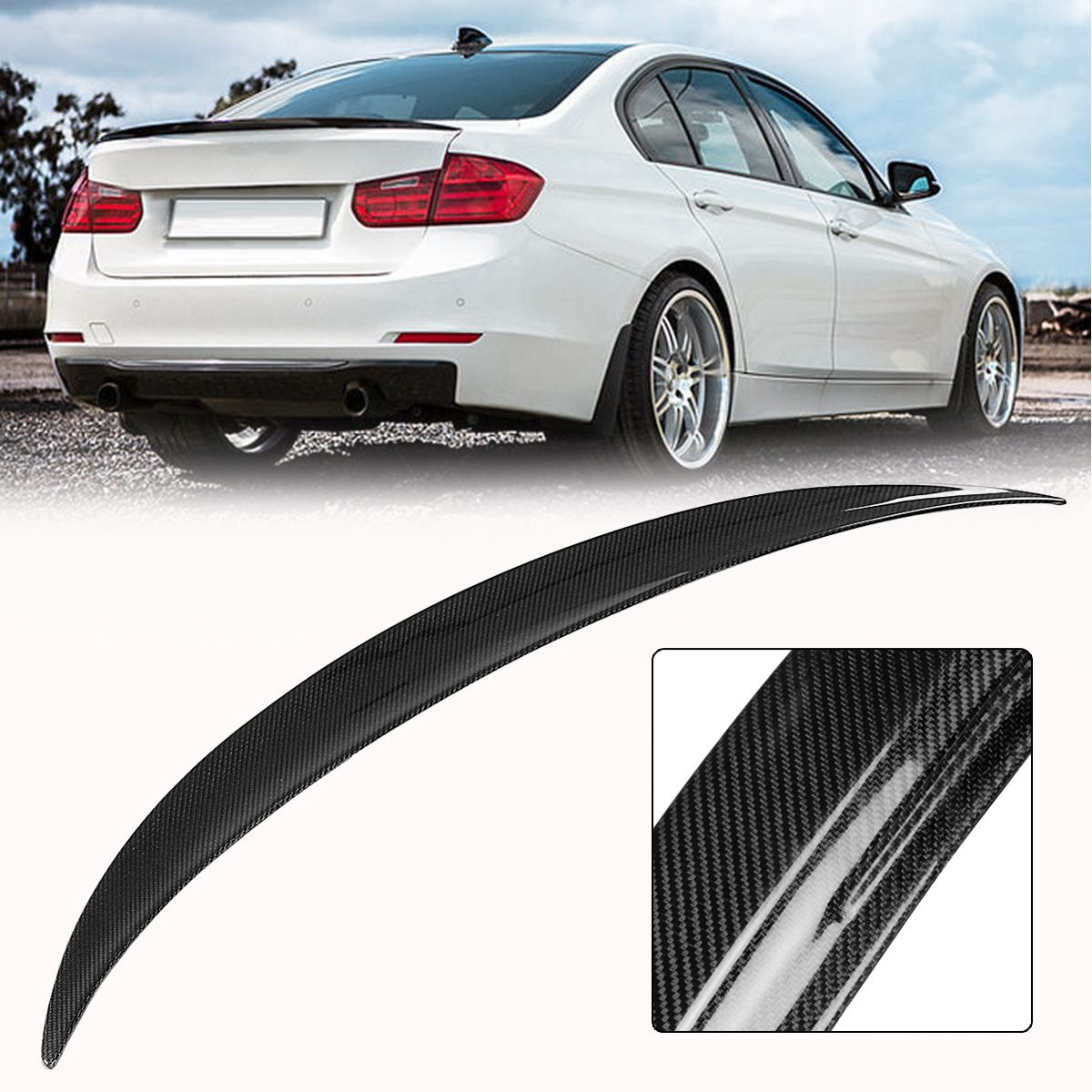 High quality Carbon Fiber Gloss Black Rear Trunk Spoiler Wings Trunk Lip For 12-Up For BMW F30 3-Series 4Dr Performance Style f26 suv rear trunk lip genuine carbon fiber gloss black back wings spoiler for bmw x4 2014 xdrive20i xdrive28i xdrive35i