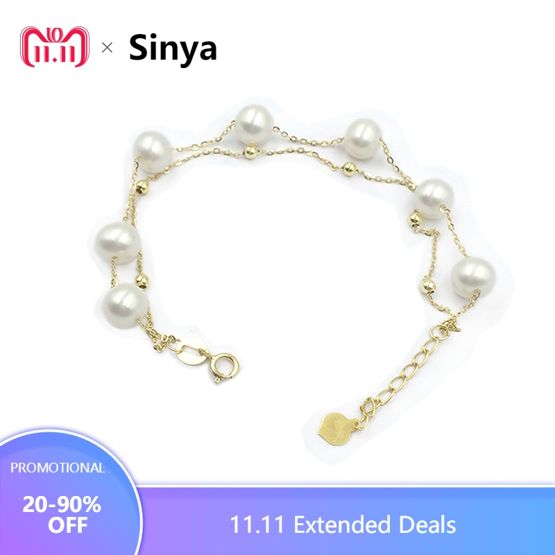 Sinya 18k gold Chain bracelets strand natural pearls gold beads for women girls Mom lover length 16+2cm can adjustable Hot sale free shipping imitation pearls chain flatback resin material half pearls chain many styles to choose one roll per lot