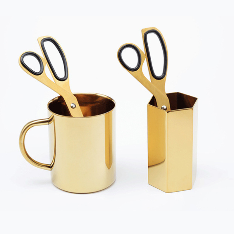 Simple Style Gold Color Scissors Home Use Stainless Steel Scissors 1pc
