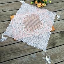 Fashion Floral Sequin Tassel Christmas Tablecloth Transparent Mantel Navidad Dinning Table Cover Mat Wedding Decor T055