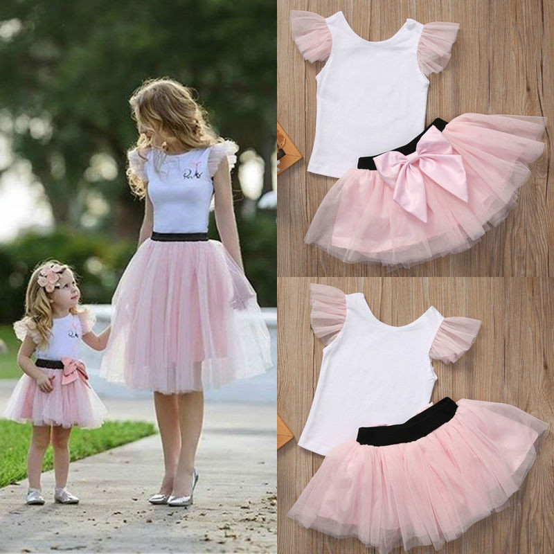 Family Matching Outfits Women Baby Girls Kids Skirt Sets Mother Daughter Sleeveless Top T-shirt Mini Tulle Tutu Skirt White Pink