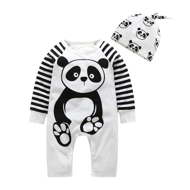2pcs/set Baby   Rompers   Cartoon Panda Printed Clothing Set Infant Stripe Long Sleeve Jumpsuit with Hat Kids Cotton O-Neck Outfits