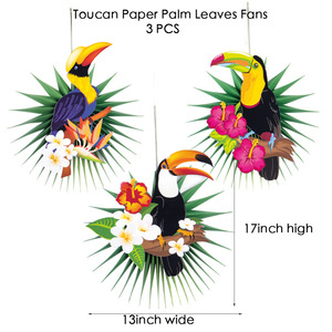 Image 3 - Tropical Party Decorations Hawaiian Summer Decoration Set  Palm Leaves Toucan Pattern Happy Birthday Luau Beach Party Backdrop