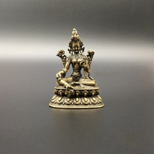 Collection Chinese Copper Carved Green Tara Bodhisattva Buddha Statue Exquisite Small Statues