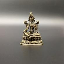 Collezione Cinese di Rame Intagliato Bodhisattva Tara Verde Statua di Buddha Squisita Piccole Statue