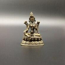 Sammlung Chinesischen Kupfer Geschnitzte Grüne Tara Bodhisattva Buddha Statue Exquisite Kleine Statuen