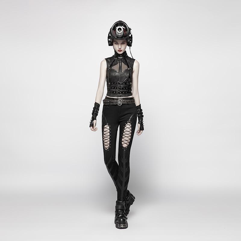 Punk Rave femmes Goth boucle Rivet noir gants WS278SSF - 5