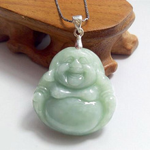 Fashion Burma Jade Cargo A Laughing Buddha pendant natural jade carved Buddha pendant jewelry Free shipping