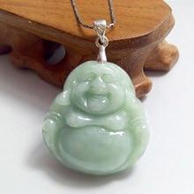 Fashion Burma Jade Cargo A Laughing Buddha pendant natural jade carved Buddha pendant jewelry Free shipping недорого