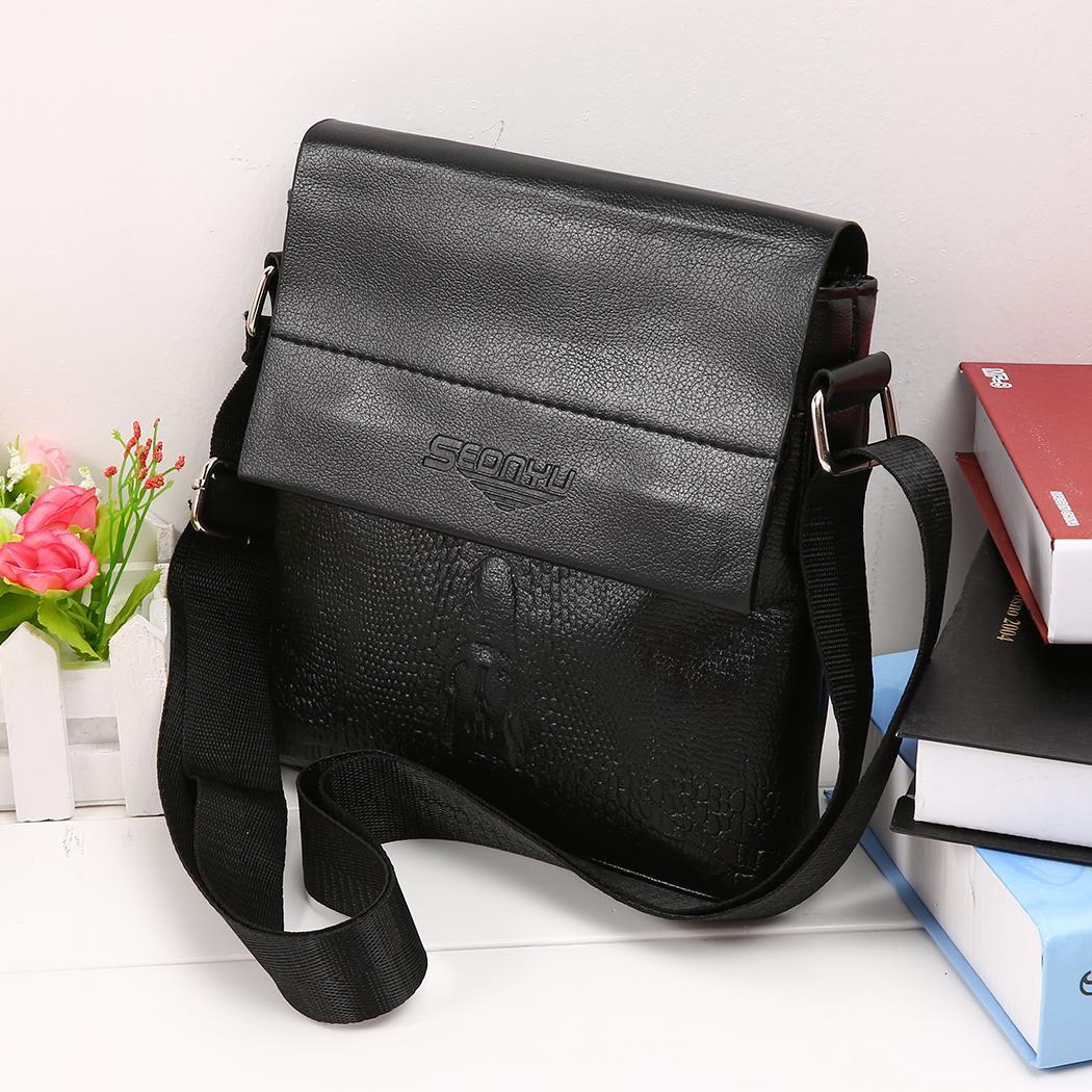 Black Casual Shoulder Button Zipper 1 Pocket Nylon Fashion Interior Bag Cover Back Print Square Cover Magnetic Men