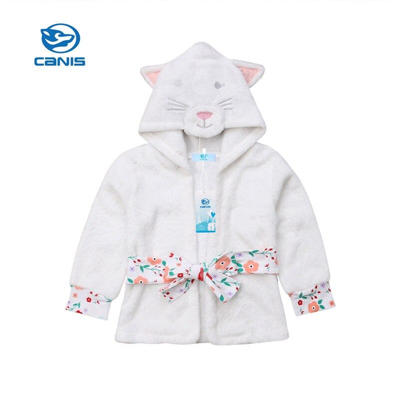 Symbol Der Marke Canis Kleinkind Baby Kinder Mädchen Kleidung Katze Winter Warme Pyjamas Mit Kapuze Bad Robe Nachtwäsche Dressing Nacht Kleid Mädchen Kleider Moderate Kosten