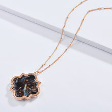 4 Colors Flower Leopard Print Acrylic Sheet Plate Pendant Necklaces Crystal Gold Fashion Brand Women Jewelry Sweater necklace(China)
