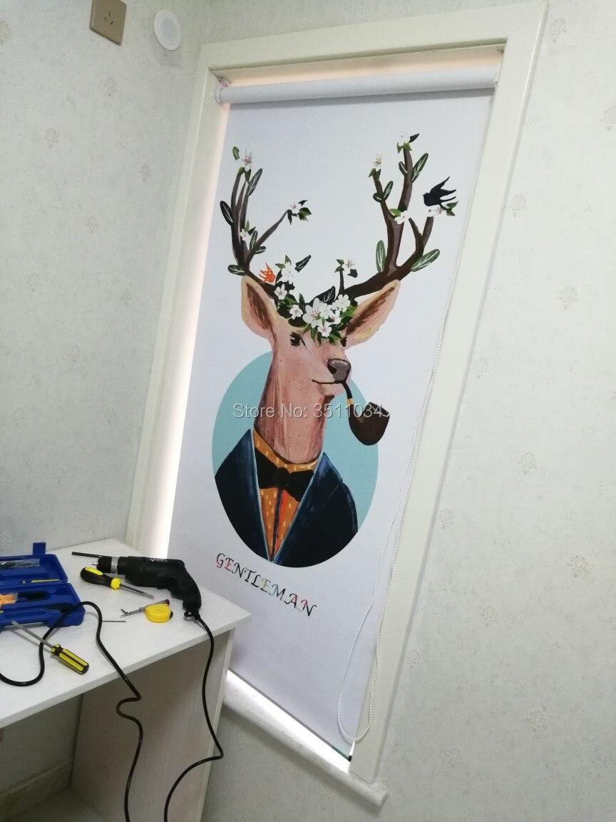 Мультфильм олень Роллинг экран рольставни подъемная затенение загара офис кухня экологическая печать