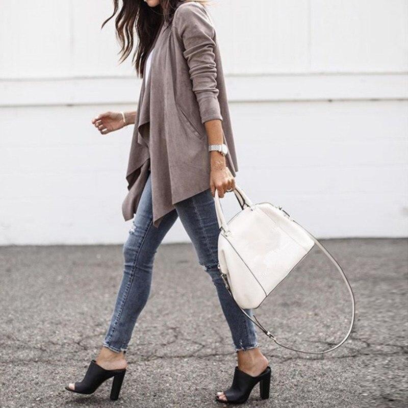 Female Biker Bomber   Suede   Faux   Leather   Jackets Fashion Autumn Women Streetwear Asymmetrical Lapel Coats Tops
