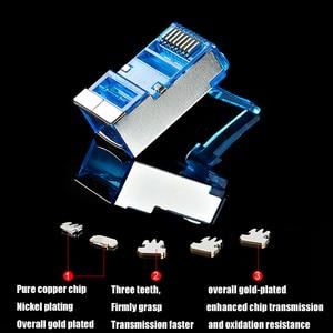 Image 3 - xintylink blue rj45 connector cat6 rg rj 45 ethernet cable plug 8P8C cat 6 rg45 shielded network stp modular keystone jack 50pcs