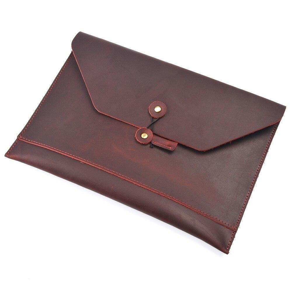 100 Genuine Leather Men File Envelope Briefcase A4 Crazy Horse Leather Business Retro Style Document Portfolio