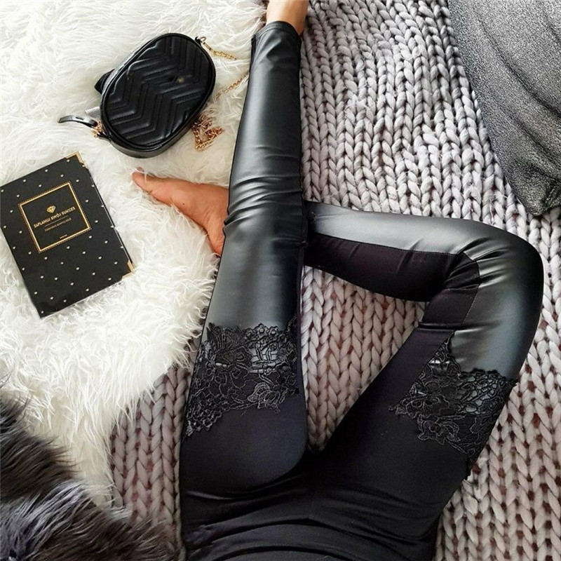 2019 New Women Fashion PU Leather Lace Floral Trousers High Waist Skinny Pencil Pants Cuff Faux Leather Spring Autumn Pants