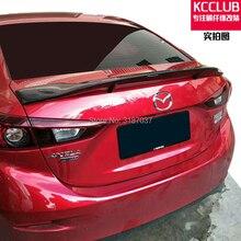 Для Mazda 3 Axela Sedan 4 двери- углеродное волокно заднее крыло багажника спойлер задний спойлер на крышу крыло багажника Крышка для губ