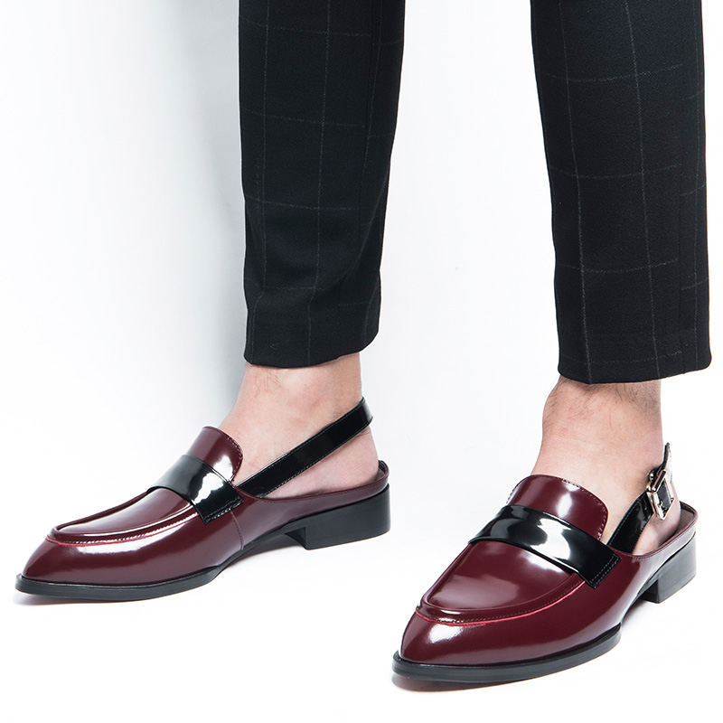 Rome Style Genuine Leather Men Close Toe Buckle Belt Sandals Trendy Square Heel Pointed Toe Sandal Man Summer Heels