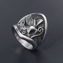 316L Stainless Steel Silver Rock Eagle Ring for Men Women Big Punk Motorcycle Biker Pattern Carving Ring Jewelry Party Gift 2020 shiying jz014 men s stylish 316l stainless steel ring silver