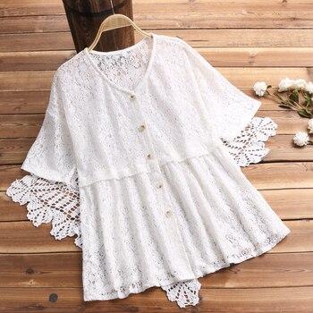 레이스 블라우스 womens top v 넥 버튼 chemise 하프 슬리브 셔츠 여성 hollow blusas 여름 탑 플러스 사이즈 기모노 카디건