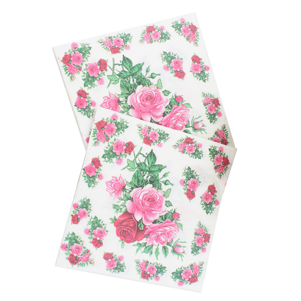 2060100pcs Floral Napkins Square Colorful Printing Paper Towel Floral Tissue Lunch Napkin for Baby Shower Birthday Wedding pink floral towels