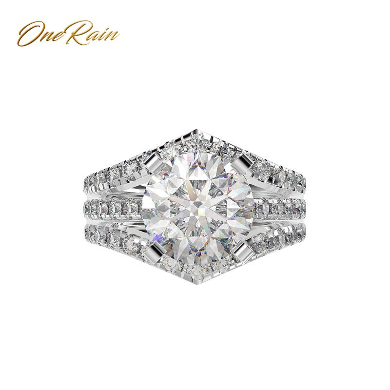 OneRain Trendy 100% 925 Sterling Silver Citrine Pink Sapphire White Topaz Aquamarine Engagement Cocktail Rings Jewelry Wholesale