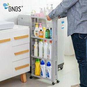 Image 5 - BNBS את הסחורה עבור מטבח אחסון מדף מקרר מדף צד 2/3/4 שכבה נשלף עם גלגלי אמבטיה ארגונית מדף בעל פער