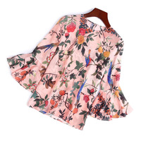 100% Silk print loose pullovers blouse 2018 new runway women summer shirts high quality office lady flare sleeve shirts
