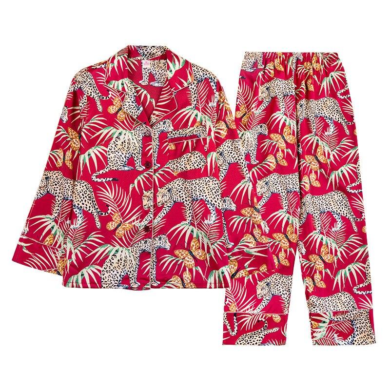 2019 Summer Women Pajamas Sets With Pants Silk Pijama Satin Pyjama Flower Print Nightwear 2 Piece Set Long Sleeve Sleepwear