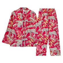 2019 yaz kadın Pijama setleri ile pantolon ipek Pijama saten Pijama çiçek baskı kıyafeti 2 adet Set uzun kollu Pijama