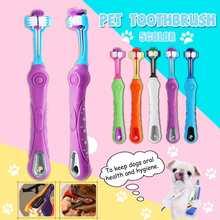 1 шт. зубная щетка с тремя головками для домашних собак с нескользящей ручкой уход за зубами для собак, кошек, чистка рта, чистка зубов, 5 цветов