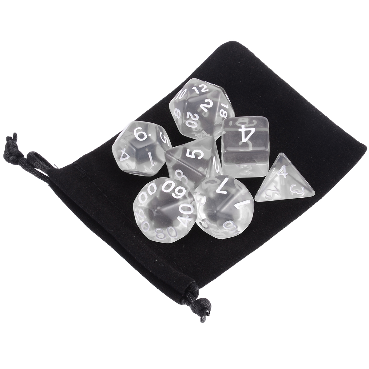 7pcs Transparent White Polyhedral Dices With Cloth Bag Gaming  Dungeons And Dragons RPG Game Party Poker Funny Games Dices