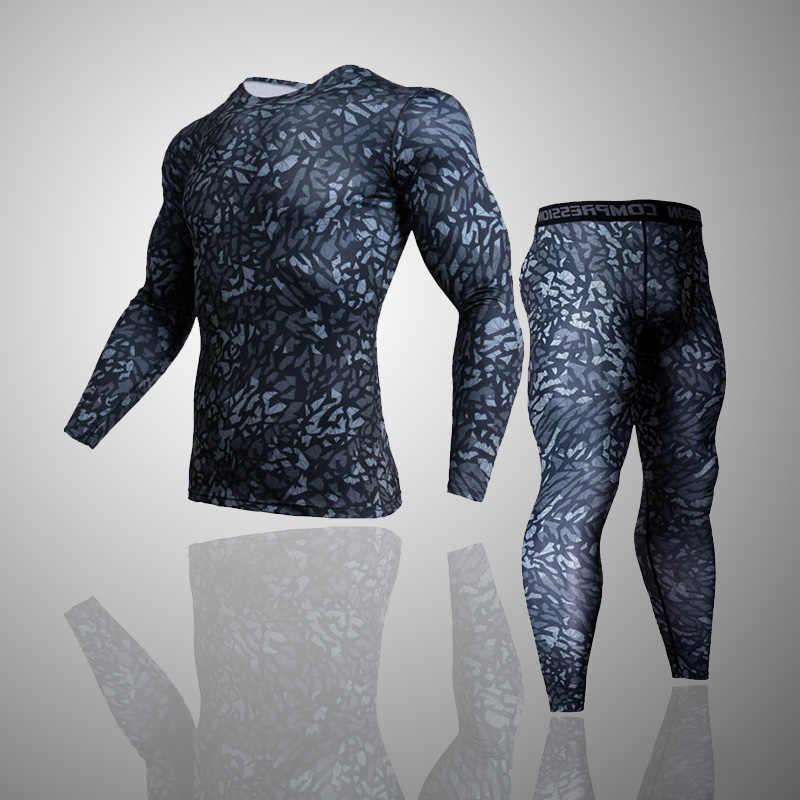Novos homens camisa de compressão 2019 terno treinamento esportivo de fitness jogging atividade calças tunning homens roupas de ginástica do esporte treino