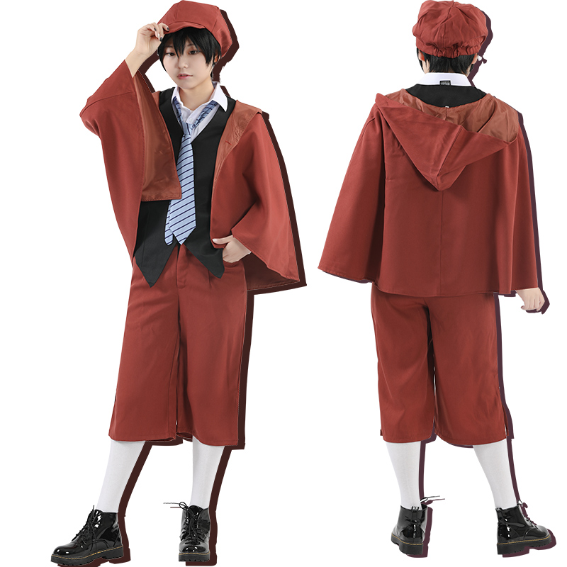 Milky Way Anime Bungo Literary Stray Dogs Edogawa Ranpo whole Cosplay Costume With Wig Vest Cloak Pants Tie Hat Uniform Suit