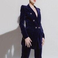 2018 зимний формальный женский брючный костюм для подиума, дизайнерский сексуальный двубортный блейзер с v образным вырезом, Женский офисный