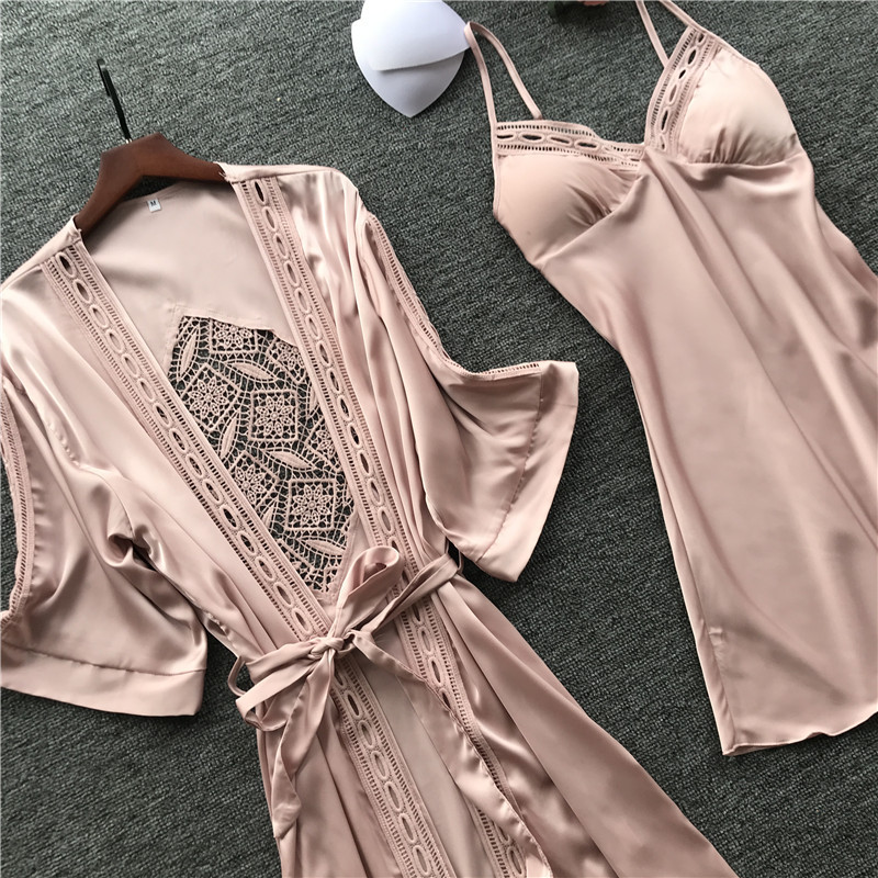 Nightwear Bathrobe Gown-Sets Lounge-Pijama Long-Sleeve Sexy Women Lace Ladies with Chest-Pads