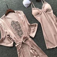 Roupão feminino, roupa de dormir para mulheres, pijama de manga longa com decote no peito, roupa de dormir, 2019 almofadas