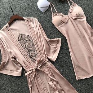 2019 Women Robe & Gown Sets Sexy Lace Sleep Lounge Pijama Long Sleeve Ladies Nightwear Bathrobe Night Dress With Chest Pads(China)