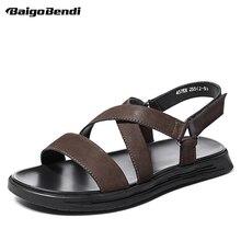 US Size Men Real Leather Cross-tied Ankle Strp Sandals Boy Hook Loop Cool Sandal Summer Shoes reef men s real tree phantoms thong sandal
