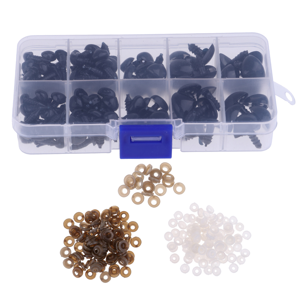 130 Pieces Plastic Safety Screw Nose 8//9//11//15//16mm for Teddy Bear Animals Toy Doll DIY Making Supplies