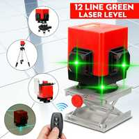 12 Line Green Light Laser Level 3D 360 Auto Self Floor Tile Leveling Controller Wall Mounted Bracket Tripod Base Conversion